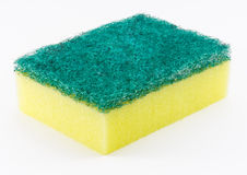 Dishwashing Sponge on White Background. A Sponge use for Cleaning Dishes in Kitchen royalty free stock photos