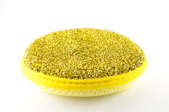 Dishwashing sponge. Yellow background bathroom Stock Photos