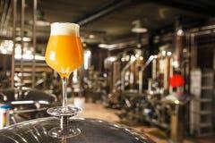 Disigt IPA-öl på bryggeriet royaltyfri fotografi