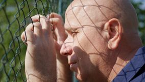 Disillusioned Man Image Looking Sad Thru a Metallic Fence royalty free stock photos