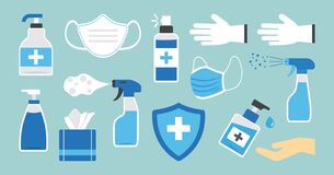 Free Disinfection. Hand Hygiene. Set Of Hand Sanitizer Bottles, Washing Gel, Spray, Wipes, Liquid Soap, Gloves. PPE Personal Protective Royalty Free Stock Photography - 180723417