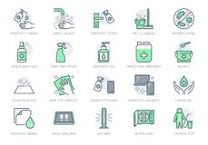 Disinfection line icons. Vector illustration included icon as spray bottle, floor cleaning mop, wash hand gel, autoclave