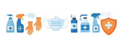 Free Disinfection. Virus Prevention Icons. Face Medical Mask, Gloves, Hand Sanitizer Bottles. Medical Insurance. Vector Royalty Free Stock Photos - 180047498