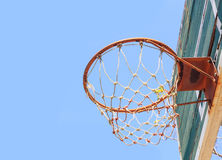 Disintegrated basketball hoop. Basketball court disintegrated in rural areas Royalty Free Stock Image