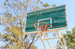 Disintegrated basketball hoop. Basketball court disintegrated in rural areas Royalty Free Stock Photos