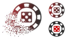 Disintegrating Dot Halftone Dice Casino Chip Icon. Dice casino chip icon in dispersed, pixelated halftone and undamaged solid variants. Cells are composed into vector illustration