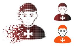Disintegrating Dotted Halftone Maltese Cross Awarded Man Icon. Maltese cross awarded man icon with face in dissolved, dotted halftone and undamaged solid royalty free illustration