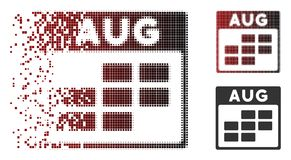 Disintegrating Pixel Halftone August Calendar Grid Icon. Vector August calendar grid icon in fractured, pixelated halftone and undamaged whole versions royalty free illustration