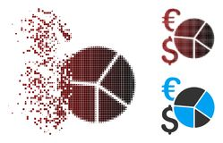 Disintegrating Pixel Halftone Dollar And Euro Pie Chart Icon. Vector Dollar and Euro pie chart icon in dissolved, dotted halftone and undamaged whole versions royalty free illustration