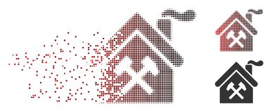 Disintegrating Pixel Halftone Forge Building Icon. Vector forge building icon in sparkle, dotted halftone and undamaged solid versions. Disappearing effect uses Stock Images