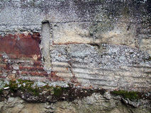 Disintegrating wall. A close up of the details of an old wall that is disintegrating royalty free stock images