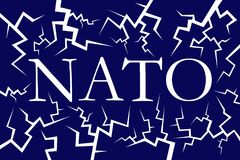 Disintegration, decline and breakdown of NATO. Defense and military alliance is in bad and poor condition - decomposition, degradation and cracks. Vector vector illustration