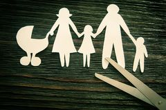 The disintegration of the family. Divorce. Section children.  Stock Photos