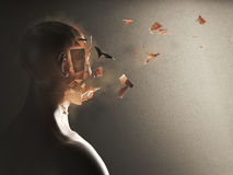 Disintegration of the soul. 3D Rendering. 3D Rendering of face of a man who crumbles Stock Photos