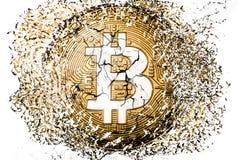 Disintegrazione di Bitcoin Immagini Stock