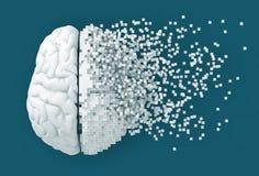 Disintegrazione di Digital Brain On Blue Background illustrazione vettoriale