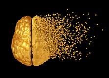 Disintegrazione di Digital dorata Brain On Black Background Immagine Stock