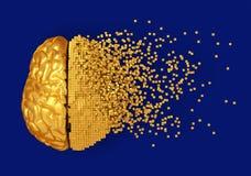 Disintegrazione di Digital dorata Brain On Blue Background illustrazione di stock