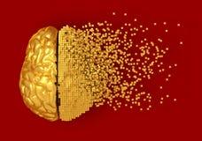 Disintegrazione di Digital dorata Brain On Red Background Fotografia Stock Libera da Diritti