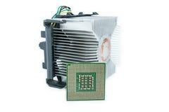 Disipador de calor con la CPU en isométrico Imágenes de archivo libres de regalías