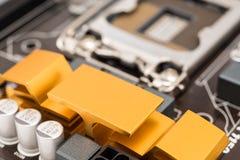 Disipador de calor del chipset en la placa madre Foto de archivo libre de regalías