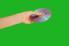 Disk. Round disk in the woman's hand as a device for storage Stock Photos