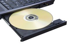 Disk. Is in the laptop on white background Royalty Free Stock Photo
