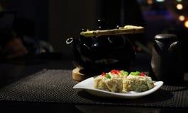 Disk av japansk kokkonst fotografering för bildbyråer