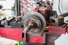 Disk brake machine working to rebuild surface Royalty Free Stock Photos