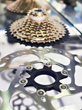 Disk brake and rear cassette stars of speeds in shop Stock Image