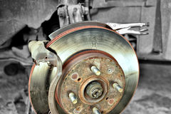 Disk Brake. During the repair, car brakes Royalty Free Stock Photo