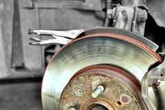 Disk Brake. During the repair, car brakes Stock Photos