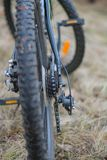 Disk brakes of the bicycle on a wheel Stock Photo