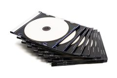 Disk cd in boxes Royalty Free Stock Photo