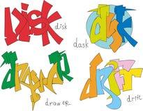 Disk, dask, drawer and drift graffiti Stock Image