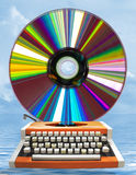 Disk and deck of typewriter Royalty Free Stock Images