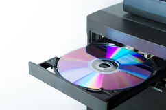 Disk in the drive. The computer system unit Stock Photo