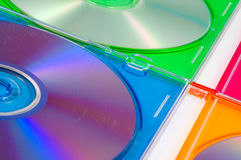 Disk, DVD boxes isolated. Color disk, DVD boxes isolated stock photography