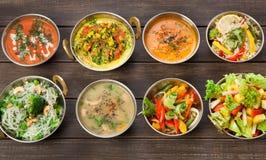 Disk för indisk kokkonst för strikt vegetarian och för vegetarian varm kryddig Arkivbild