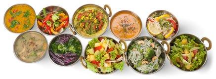 Disk för indisk kokkonst för strikt vegetarian och för vegetarian varm kryddig Arkivbilder