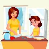 Disk för Wash för liten flickaportionmoder i kökvektor isolerad knapphandillustration skjuta s-startkvinnan royaltyfri illustrationer