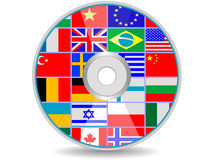 Disk with flags. Dvd a disk with flags of the states for design in a royalty free illustration