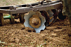 Disk Harrow in garden Royalty Free Stock Photo