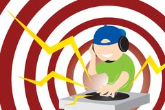 Disk Jockey. A Disk Jockey playing with his music Royalty Free Stock Photography