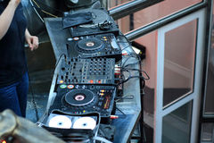 Disk jockey equipment Stock Images