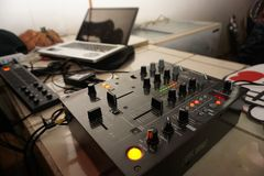 Disk jockey`s Working place in the night stock images