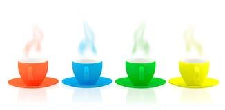 Disk och koppar för olik färg keramisk Arkivbild