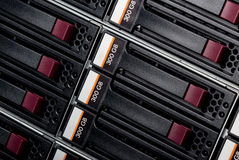 Disk storage. Disk array in datacenter Royalty Free Stock Photography