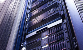 Disk storage blades in the mainframe server room. Disk storage blades in mainframe server room Stock Image