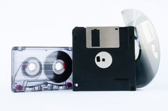 Disk, tape and floppy disk Royalty Free Stock Photo